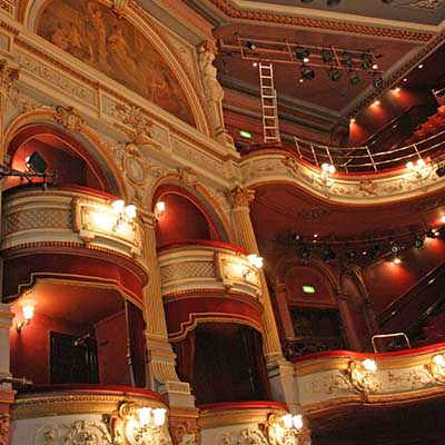 View of the Boxes, Dress Circle and Upper Circle levels in the auditorium at the Alhambra Theatre