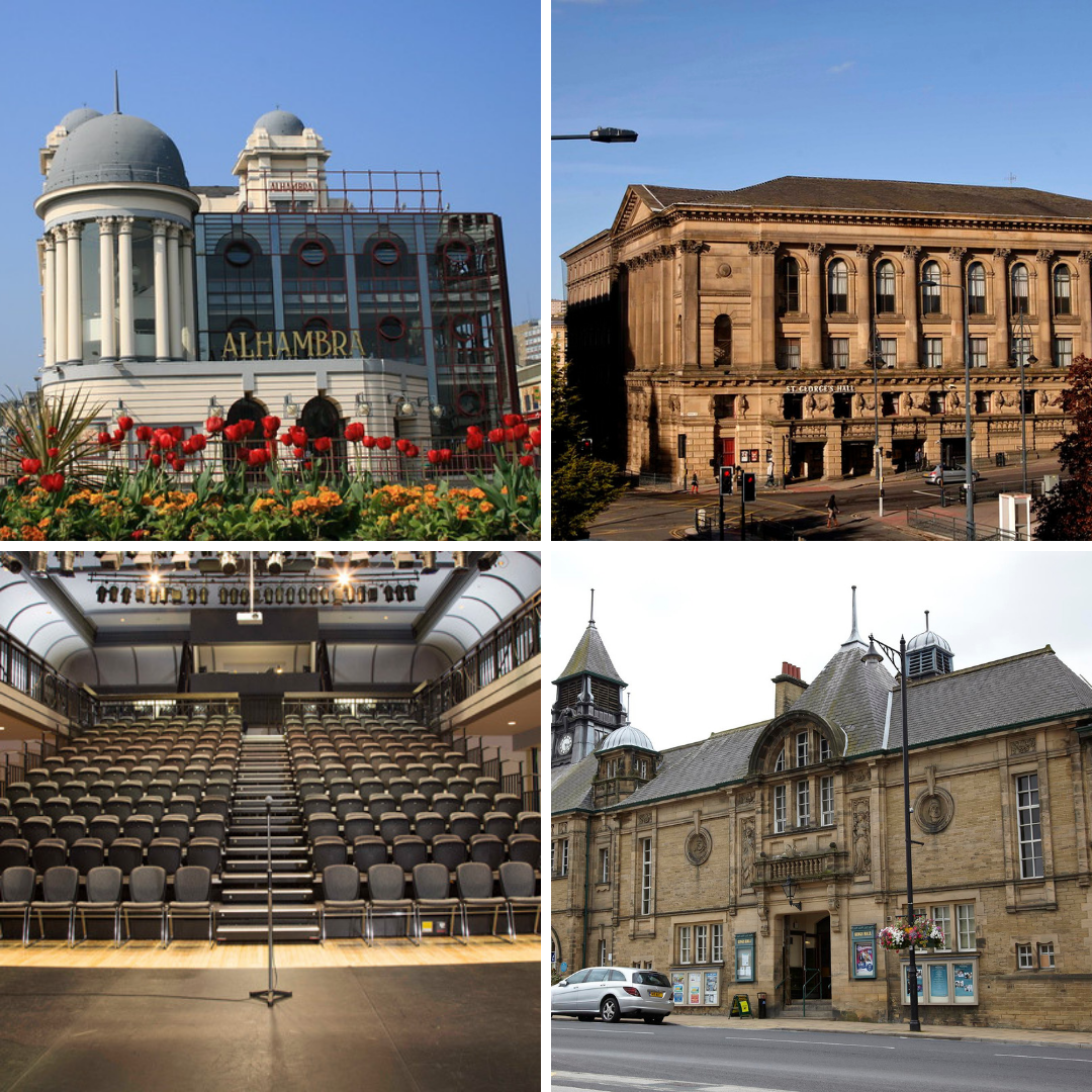 Group of four images: The outside of the Alhambra Theatre, Bradford during the day, The outside of St George's Hall, Bradford during the day, View of the entire seating area of The Studio auditorium from the stage, The outside of King's Hall and Winter Gardens during the day